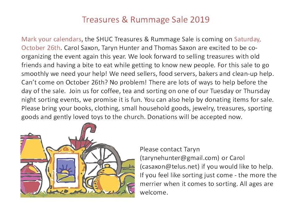 Treasures & Rummage Sale: October 26th 2019