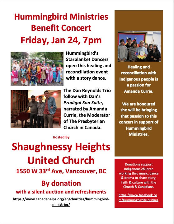 Hummingbird Ministries Benefit Concert: Friday January 24th, 7pm