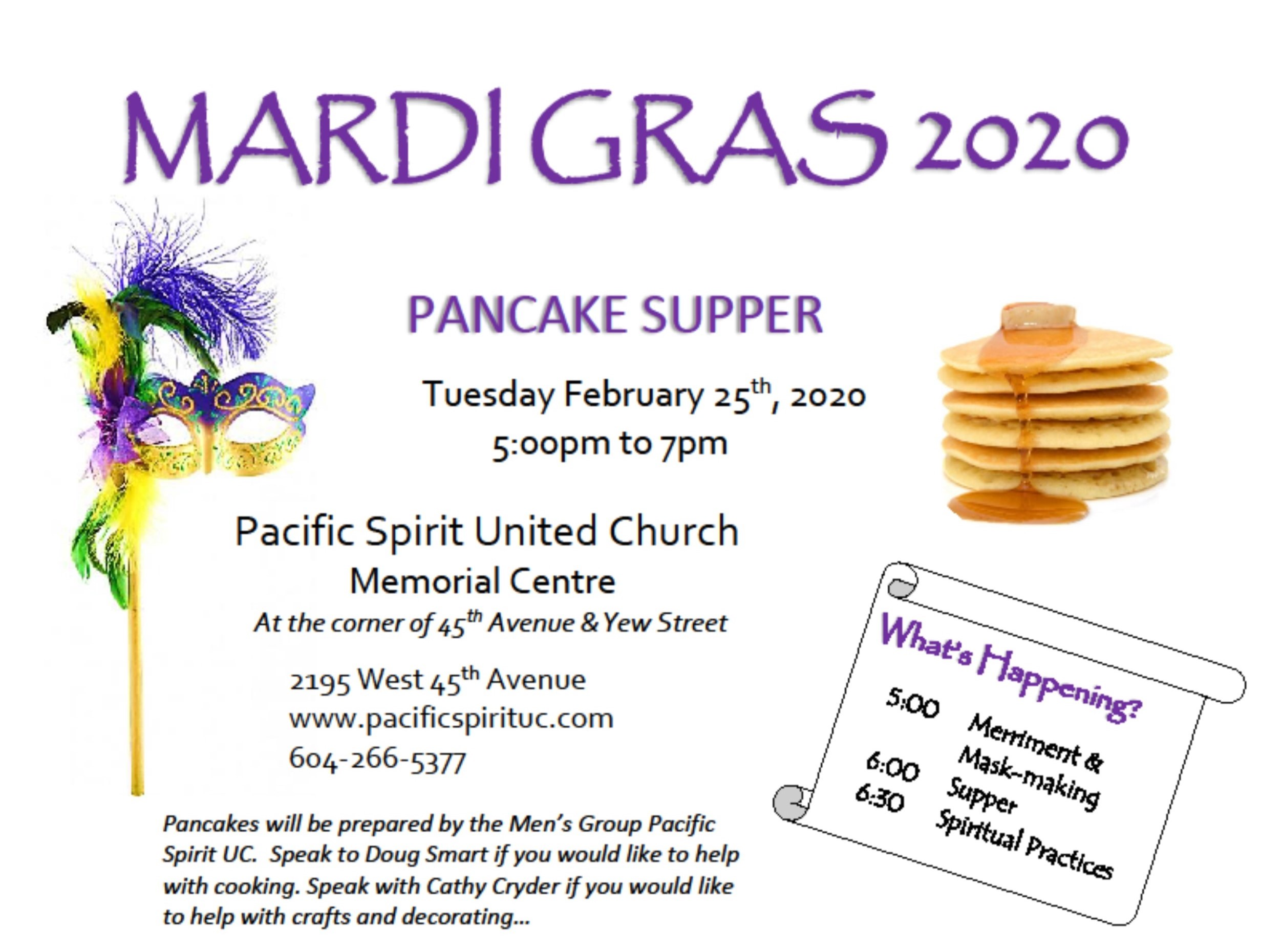 Mardi Gras Pancake Supper: February 25th 5-7pm